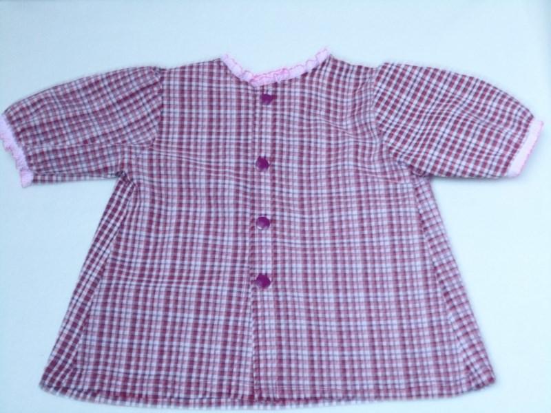 Kleinesbild - Sommer Bluse Größe 80 – 86 für Kleinkinder. Eine romantische Bluse im Karomuster weiß - dunkelrot