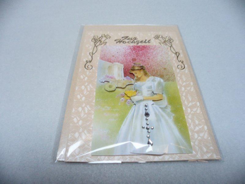 Kleinesbild - Eine anspruchsvolle 3D Karte zur Hochzeit. Eine Brautkarte dekoriert mit  Acrylsteinchen und Sticker.  Bis 6 Karten Portogebühren 1,45€