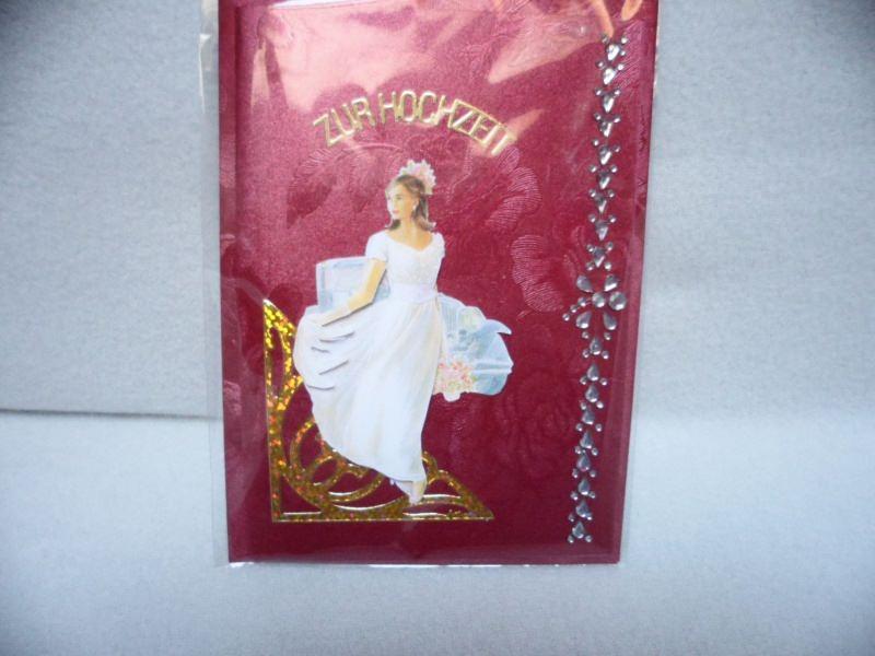 Kleinesbild - Eine anspruchsvolle 3D Karte zur Hochzeit. Eine Braut  dekoriert mit  Acrylsteinchen und Sticker. Bis 6 Karten Portogebühren 1,45€