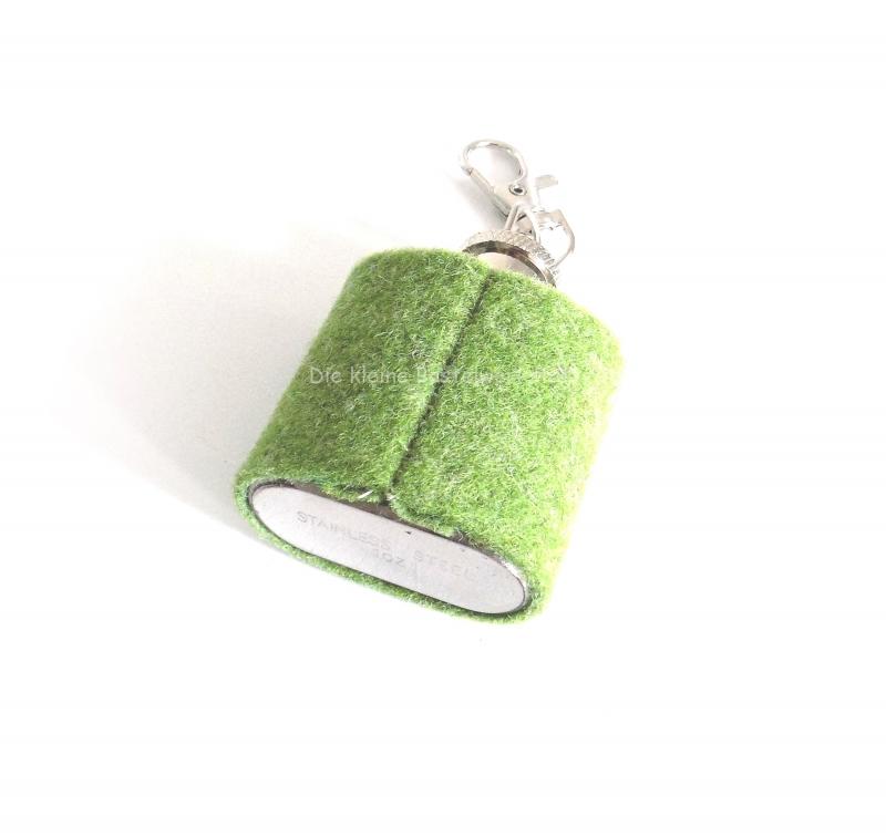 Kleinesbild - Flachmann, Mini Flachmann mit Edelweiss, Flachmann Hülle olivgrün