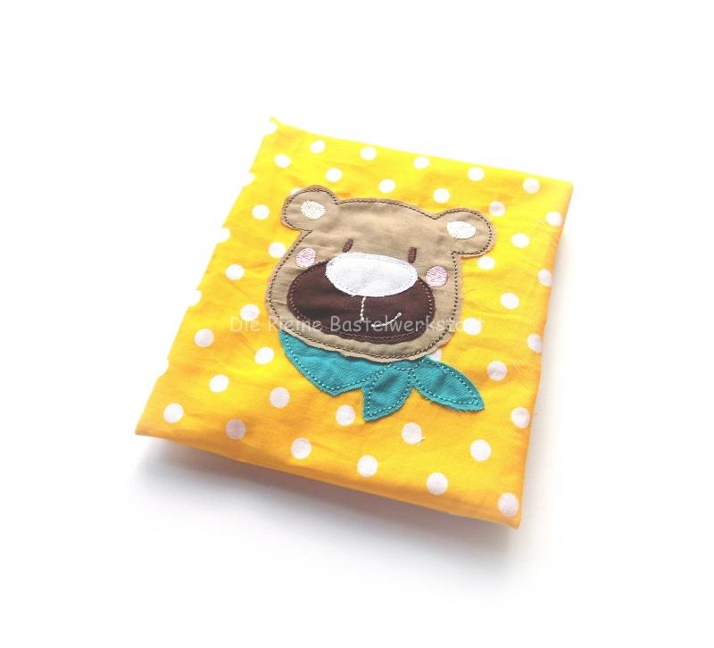Kleinesbild - Kühlpadhülle Kinder gepunktet, Wärmekissen Baby mit Bär