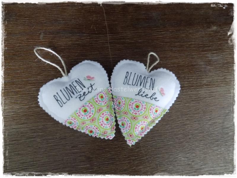 Kleinesbild - Stoffanhänger Herz, Herz zum aufhängen, Dekoration, Blumen Zeit