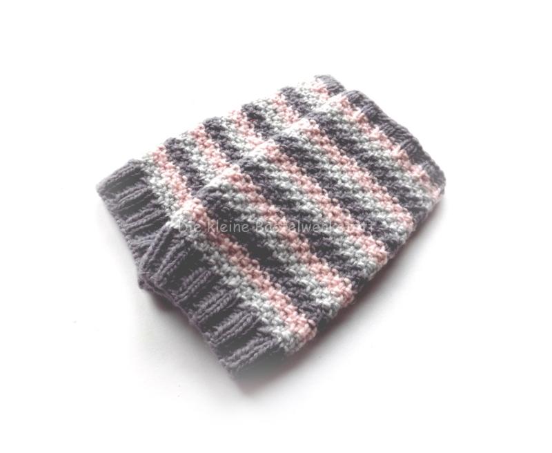 Kleinesbild - Armstulpen gestrickt, Pulswärmer gestreift, grau rosa