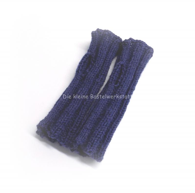 Kleinesbild - Armstulpen gestrickt, Pulswärmer Zopfmuster, Armstulpen blau