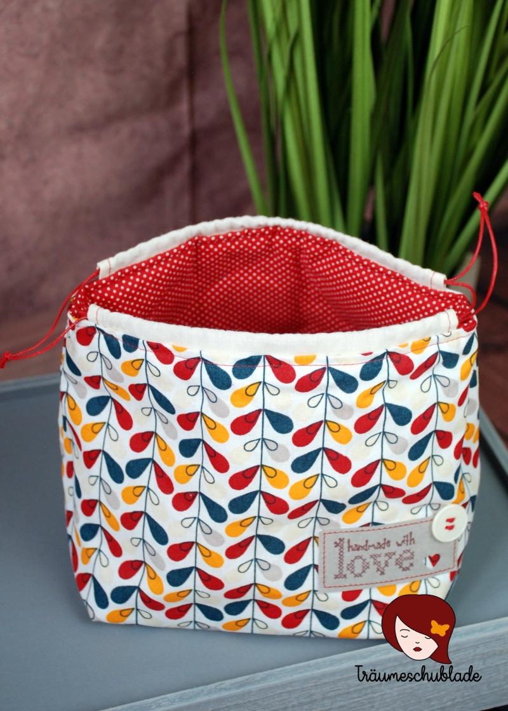 Kleinesbild - Kleiner Handarbeit Projekt Kosmetik Kleinkram Beutel Kulturbeutel Geschenk japanischer Beutel mit Kordelzug aus Baumwolle bunt rot