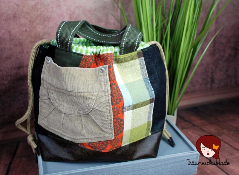 - Handarbeit Projekt Tasche Bunt mit Kordelzug Patchwork Upcycling grün, terrakotta, schwarz, braun - Handarbeit Projekt Tasche Bunt mit Kordelzug Patchwork Upcycling grün, terrakotta, schwarz, braun