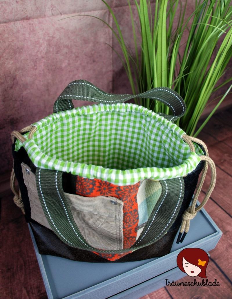 Kleinesbild - Handarbeit Projekt Tasche Bunt mit Kordelzug Patchwork Upcycling grün, terrakotta, schwarz, braun