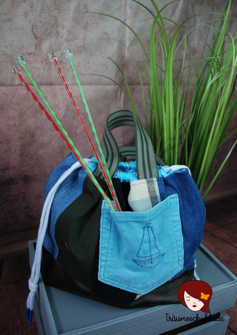 Kleinesbild - Handarbeit Projekt Tasche Bunt mit Kordelzug Patchwork Upcycling blau, grün, schwarz, braun