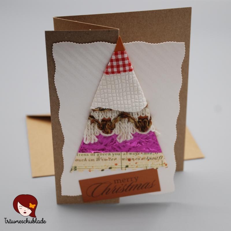 Kleinesbild - 3D selbstgebastelte Weihnachtskarte mit Briefumschlag, gefalzt, Tannenbaum Motiv, verschiedene Materialien