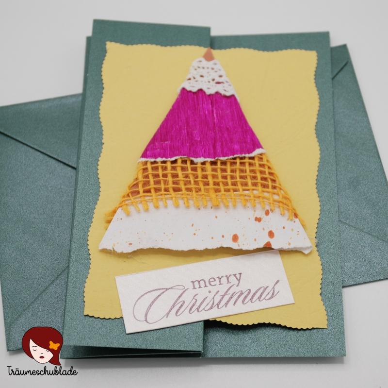 - 3D selbstgebastelte Weihnachtskarte mit Briefumschlag, gefalzt, Tannenbaum Motiv, verschiedene Materialien - 3D selbstgebastelte Weihnachtskarte mit Briefumschlag, gefalzt, Tannenbaum Motiv, verschiedene Materialien