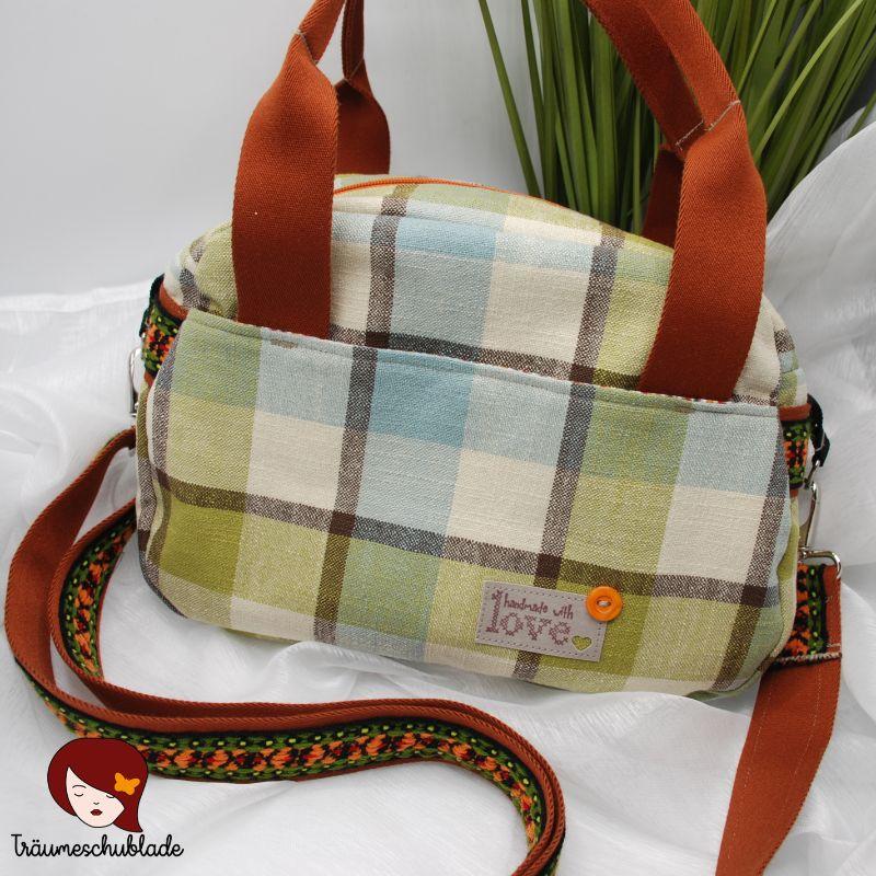 """Kleinesbild - Tasche """"Just Be"""", mittelgroße, stylische Handtasche, Schultertasche, Umhängetasche mit Reißverschluss, Tartan Optik, Hellblau, Hellgrün, Crème, Braun, Bunt"""