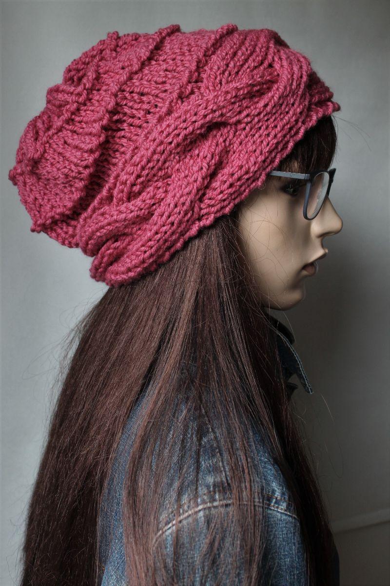 Kleinesbild - Handgestrickte Mütze mit Zopfrand handmade Frauen rosenholz Herbst Winter Mütze neu Strickmütze