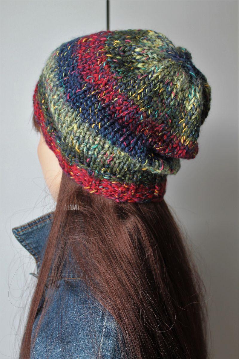 Kleinesbild - weiche Strickmütze für Damen handmade bunt mehrfarbig handgestrickt Mütze neu rot blau weich