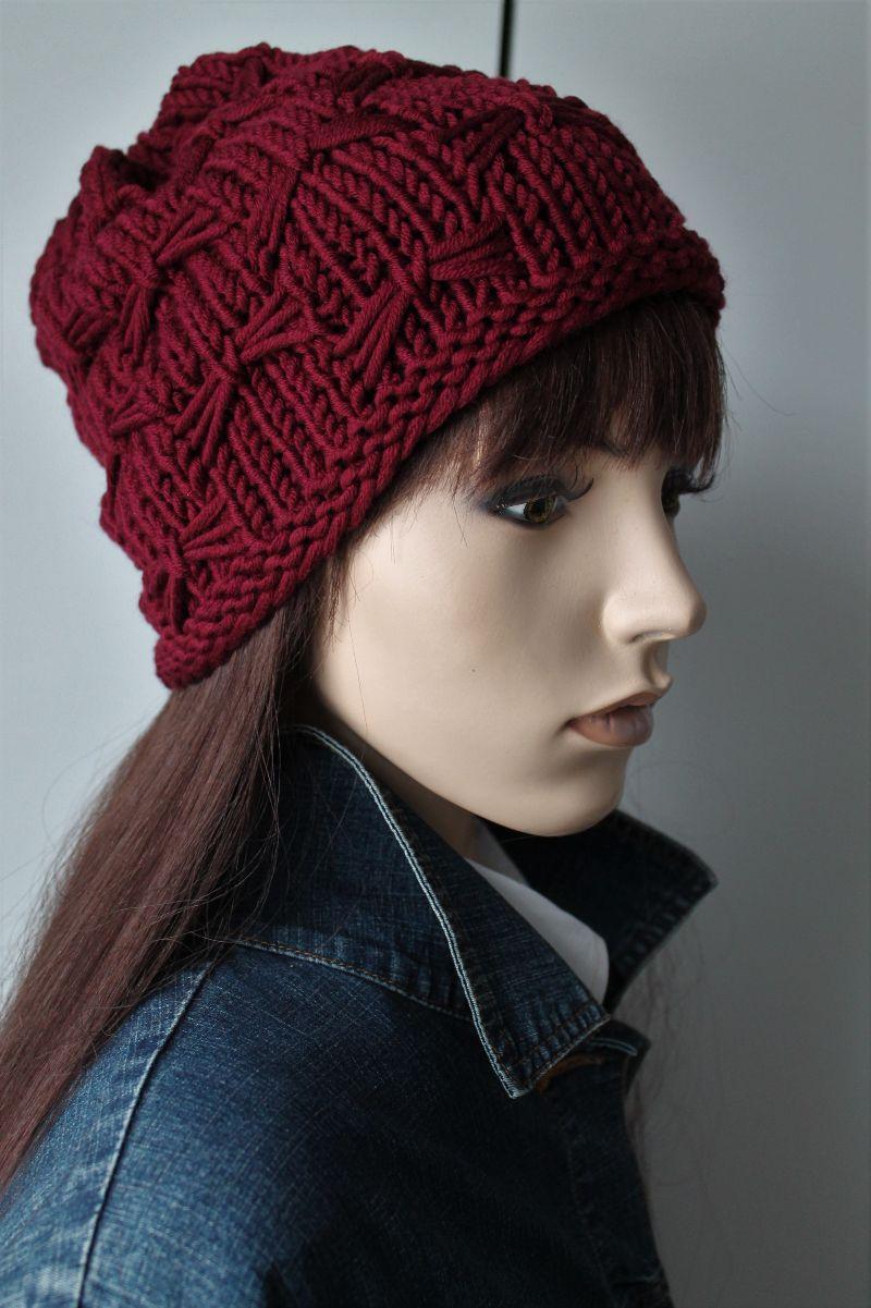 Kleinesbild - Dicke weiche Mütze aus 100 % Merinowolle gestrickt dunkelrot weinrot Wollmütze Damen handmade handgestrickt neu rot Beanie Strickmütze