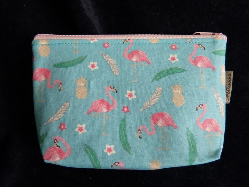 - kleine Kosmetiktasche aus Baumwollstoff mit Flamingos - kleine Kosmetiktasche aus Baumwollstoff mit Flamingos