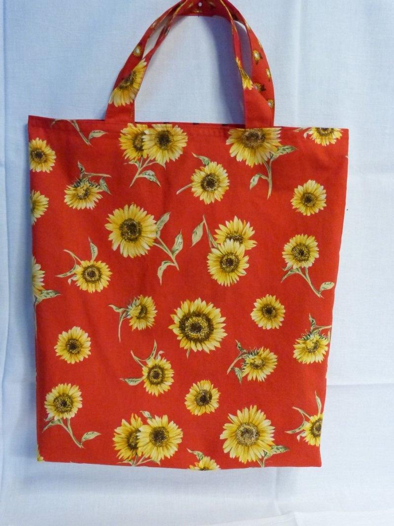 Kleinesbild - Wendetasche Einkaufstasche aus Baumwollstoff Sonnenblume