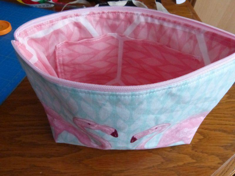 Kleinesbild - Kulturtasche aus Baumwollstoff  Flamingo rosa
