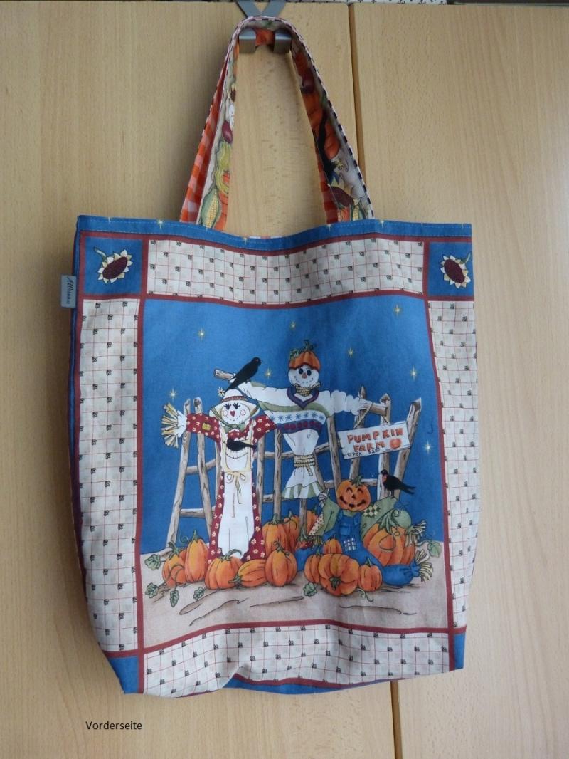 - Wendetasche / Einkaufstasche  mit tollem Herbst / Halloween-Motiv aus Baumwollstoff genäht - Wendetasche / Einkaufstasche  mit tollem Herbst / Halloween-Motiv aus Baumwollstoff genäht