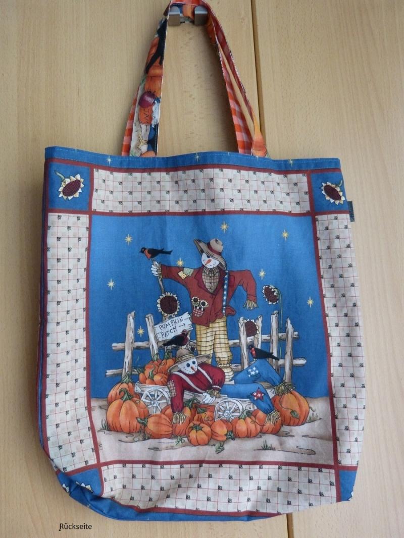 Kleinesbild - Wendetasche / Einkaufstasche  mit tollem Herbst / Halloween-Motiv aus Baumwollstoff genäht