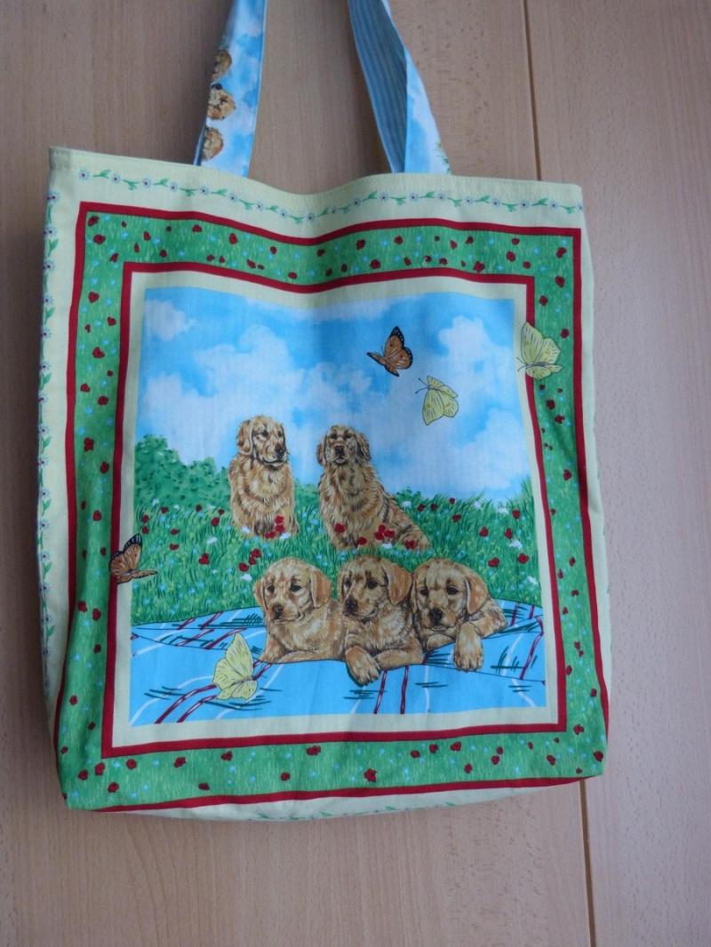 - Wendetasche / Einkaufstasche aus Baumwollstoff - Hundefamilie - Wendetasche / Einkaufstasche aus Baumwollstoff - Hundefamilie