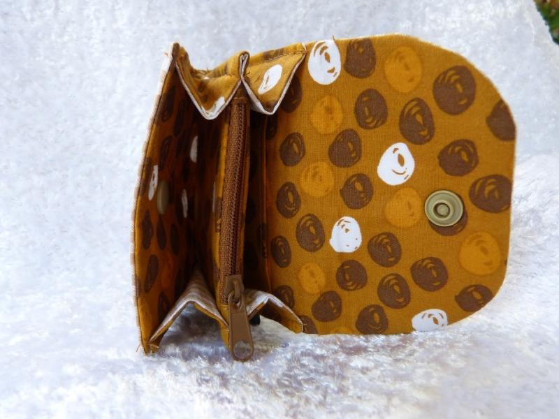 Kleinesbild - kleine Geldbörse aus Baumwollstoff mit Reißverschlussfach braun kariert