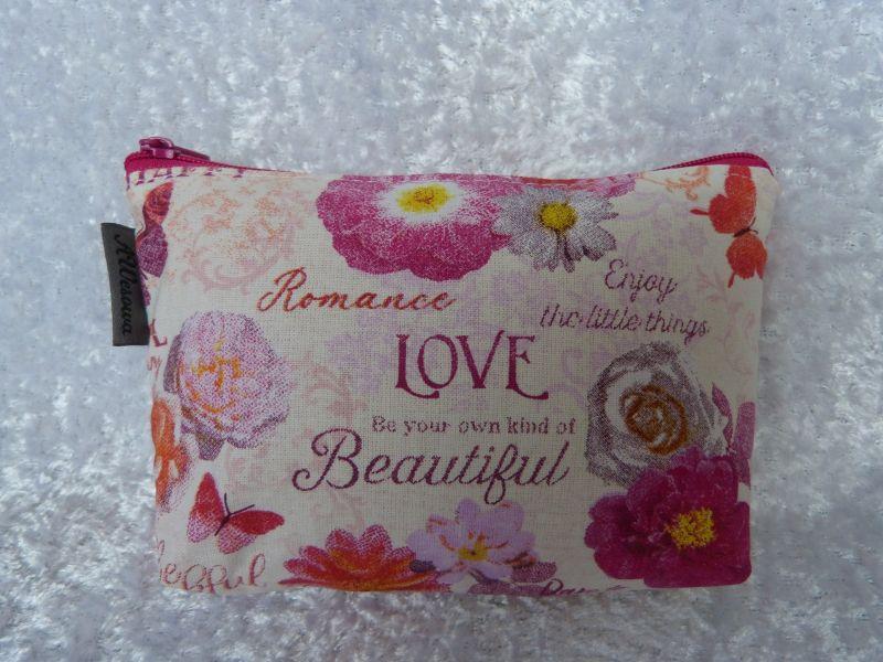 Kleinesbild - Kleine Kosmetiktasche aus Baumwollstoff weiß mit rosa Blumen - Beautiful