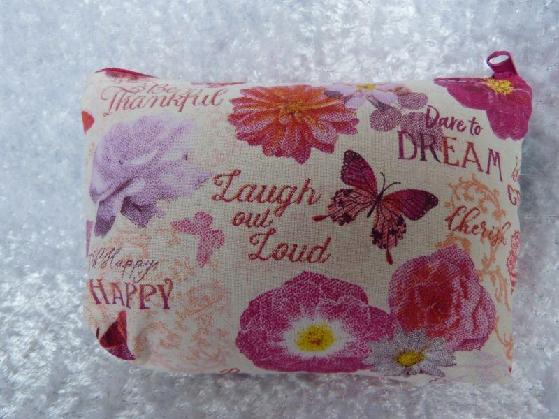 - Kleine Kosmetiktasche aus Baumwollstoff weiß mit rosa Blumen - Beautiful - Kleine Kosmetiktasche aus Baumwollstoff weiß mit rosa Blumen - Beautiful