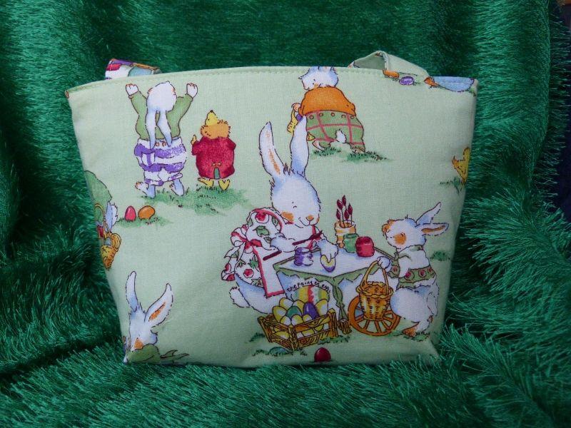 - Ostertasche - kleine Einkaufstasche grün mit süßen Hasenmotiven  - Ostertasche - kleine Einkaufstasche grün mit süßen Hasenmotiven