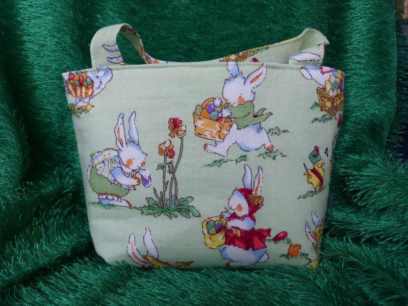 Kleinesbild - Ostertasche - kleine Einkaufstasche grün mit süßen Hasenmotiven