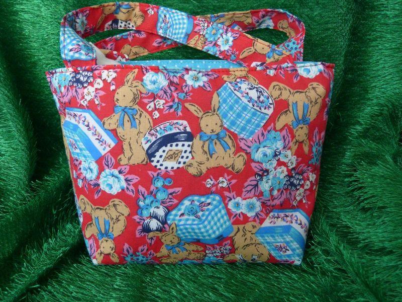 Kleinesbild - Ostertasche - kleine Einkaufstasche rot mit braunen Hasen