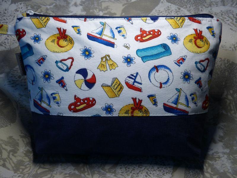 - Kulturtasche aus Baumwollstoff  Strand, Sommer, Meer - Kulturtasche aus Baumwollstoff  Strand, Sommer, Meer
