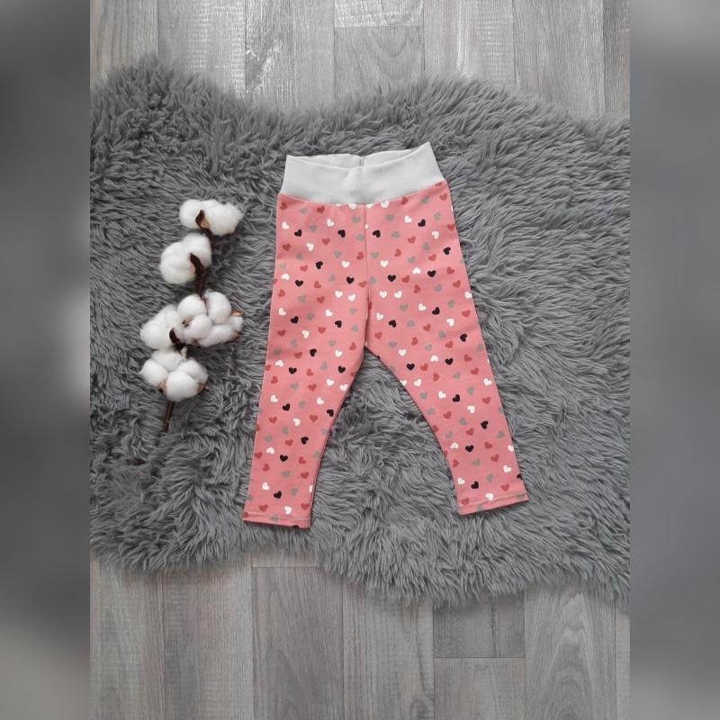 - Leggings Baby/Kind Gr74  - Jersey Herzen rosa/grau/weiß - Leggings Baby/Kind Gr74  - Jersey Herzen rosa/grau/weiß