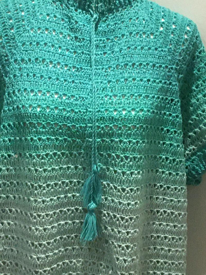 Kleinesbild - Sommer Damen Pulli in der Größe 46/48 aus Baumwolle gehäkelt