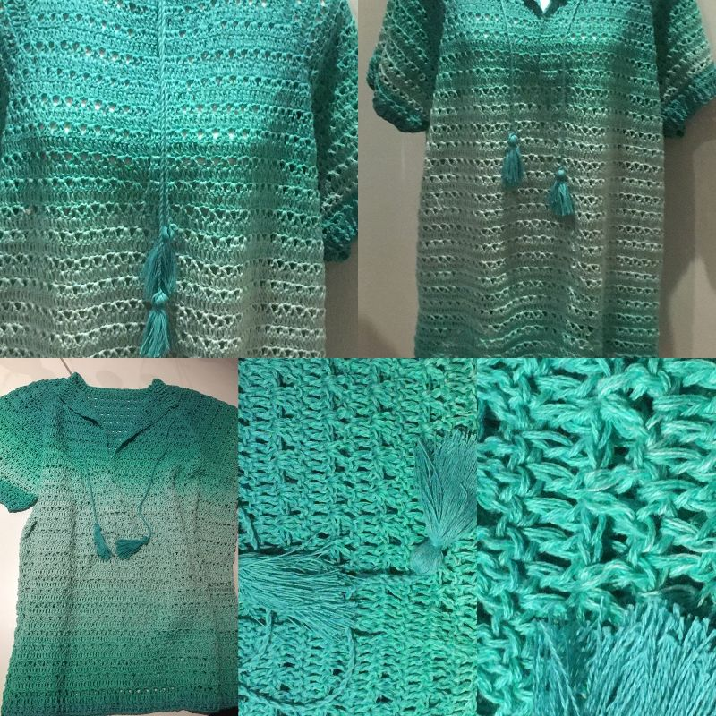 - Sommer Damen Pulli in der Größe 46/48 aus Baumwolle gehäkelt - Sommer Damen Pulli in der Größe 46/48 aus Baumwolle gehäkelt