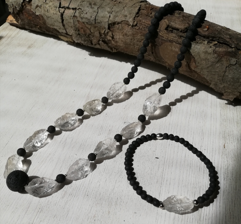 - Machbar Lava + Bergkristall Kette und passendes Armband flexibel - Machbar Lava + Bergkristall Kette und passendes Armband flexibel