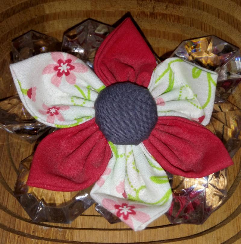 - Handgemachte Blumenhaarspange bunt selbst genäht - Handgemachte Blumenhaarspange bunt selbst genäht