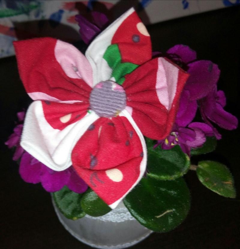 - Genähte rot Blüten-Haar-Spange für gross und klein - Genähte rot Blüten-Haar-Spange für gross und klein