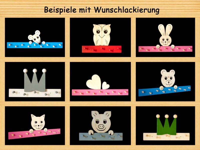 Kleinesbild - Kindergarderobe Bär mit Wunschfarbe (komplett lackiert) Holz Garderobe mit 5 Haken
