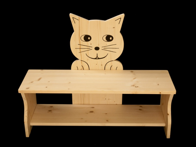 kinder kinderbank katze aus holz sitzbank f r kinder schuhbank kindersitzbank. Black Bedroom Furniture Sets. Home Design Ideas