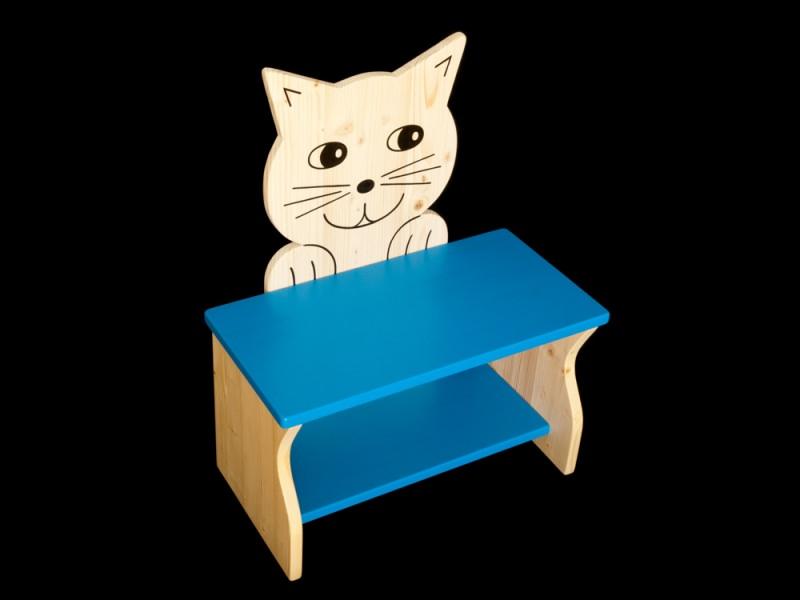 kinder kinderbank katze blau schuhbank sitzbank holzbank schuhregal bank aus holz 50 cm. Black Bedroom Furniture Sets. Home Design Ideas