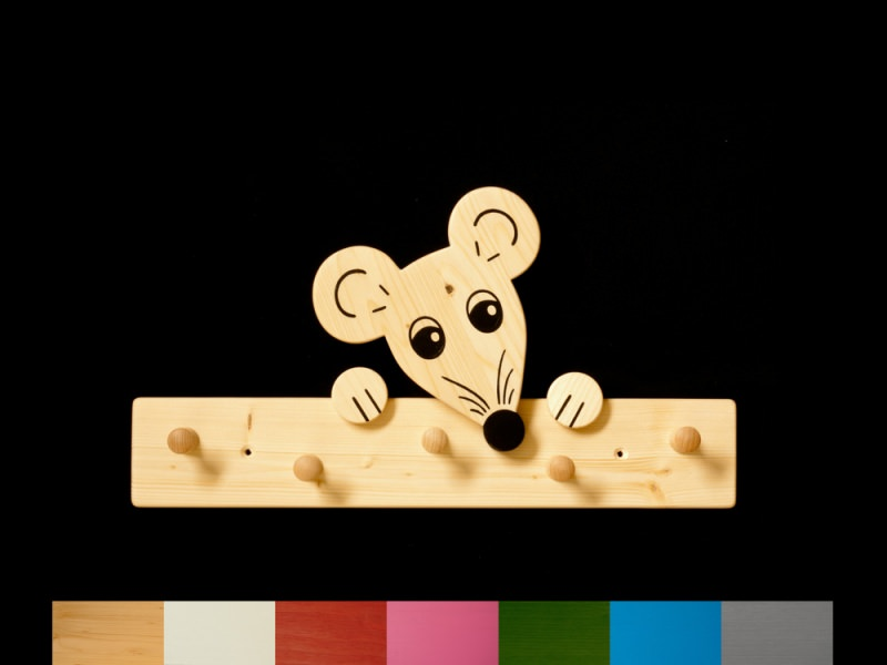 kinder kindergarderobe maus mit wunschfarbe leiste lackiert holz garderobe mit 5 haken. Black Bedroom Furniture Sets. Home Design Ideas