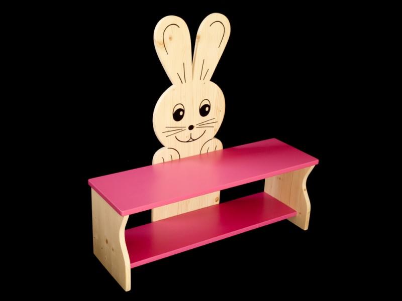 kinder kinderbank hase rosa oder mit wunschfarbe kindersitzbank aus holz schuhbank sitzbank. Black Bedroom Furniture Sets. Home Design Ideas