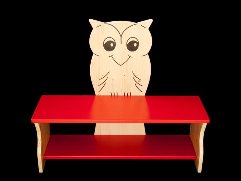 kinder kinderbank eule rot oder mit wunschfarbe kindersitzbank aus holz schuhbank sitzbank. Black Bedroom Furniture Sets. Home Design Ideas