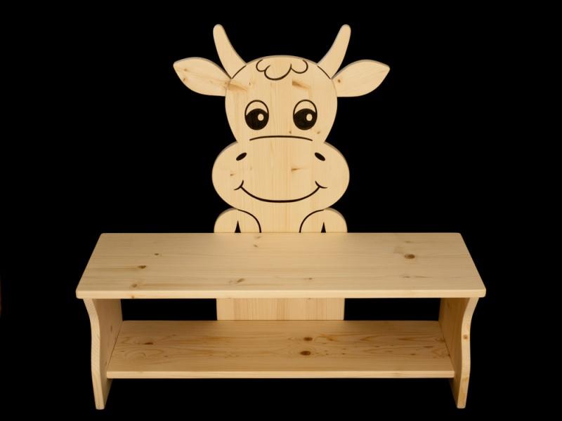 kinderm bel kinderbank kuh aus holz sitzbank f r kinder schuhbank kindersitzbank. Black Bedroom Furniture Sets. Home Design Ideas