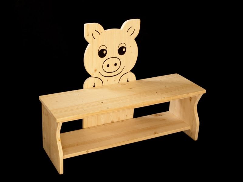 kinder kinderbank schwein aus holz sitzbank f r kinder schuhbank kindersitzbank. Black Bedroom Furniture Sets. Home Design Ideas