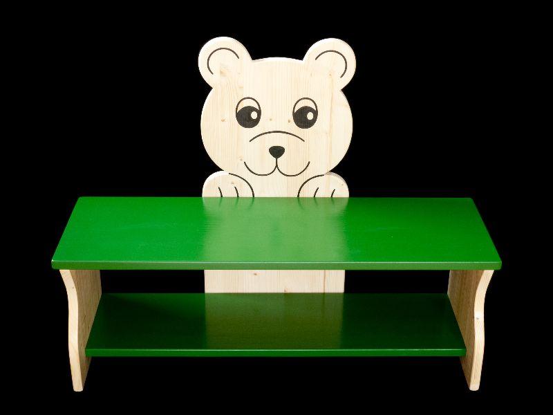 Kleinesbild - Kinderbank Bär mit Wunschfarbe komplett lackiert (Kindersitzbank aus Holz, Schuhbank, Sitzbank für Kinder)