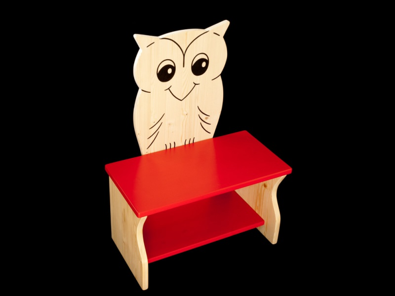 kinder kinderbank eule mit wunschfarbe komplett lackiert kindersitzbank aus holz schuhbank. Black Bedroom Furniture Sets. Home Design Ideas