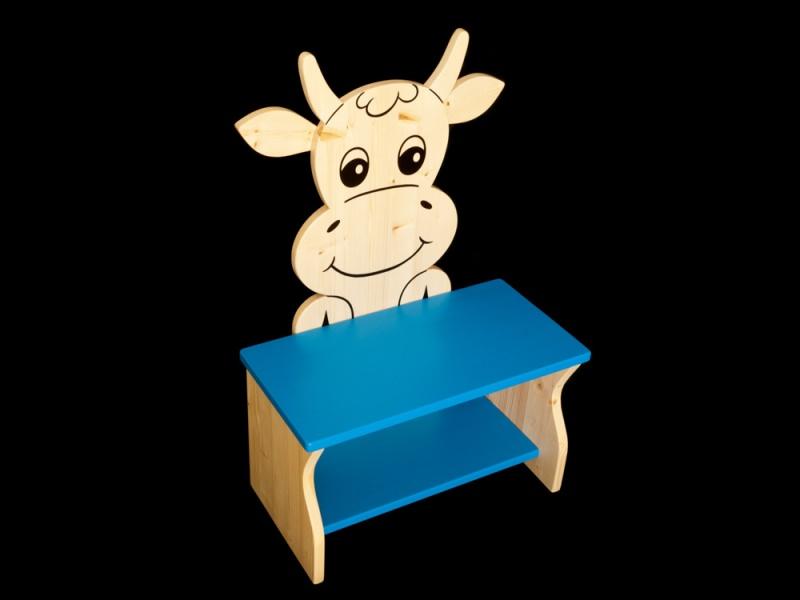 Kleinesbild - Kinderbank Kuh mit Wunschfarbe komplett lackiert (Kindersitzbank aus Holz, Schuhbank, Sitzbank für Kinder)