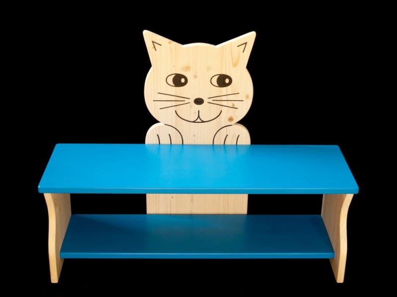 kinderm bel kinderbank katze mit wunschfarbe auf sitzfl che schuhablage kindersitzbank aus. Black Bedroom Furniture Sets. Home Design Ideas