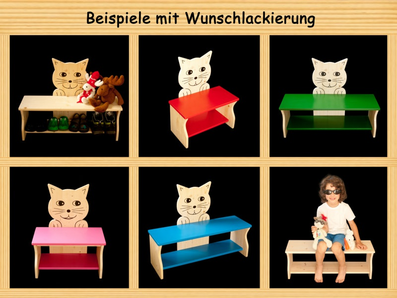 kinder kinderbank katze mit wunschfarbe auf sitzfl che schuhablage kindersitzbank aus holz. Black Bedroom Furniture Sets. Home Design Ideas